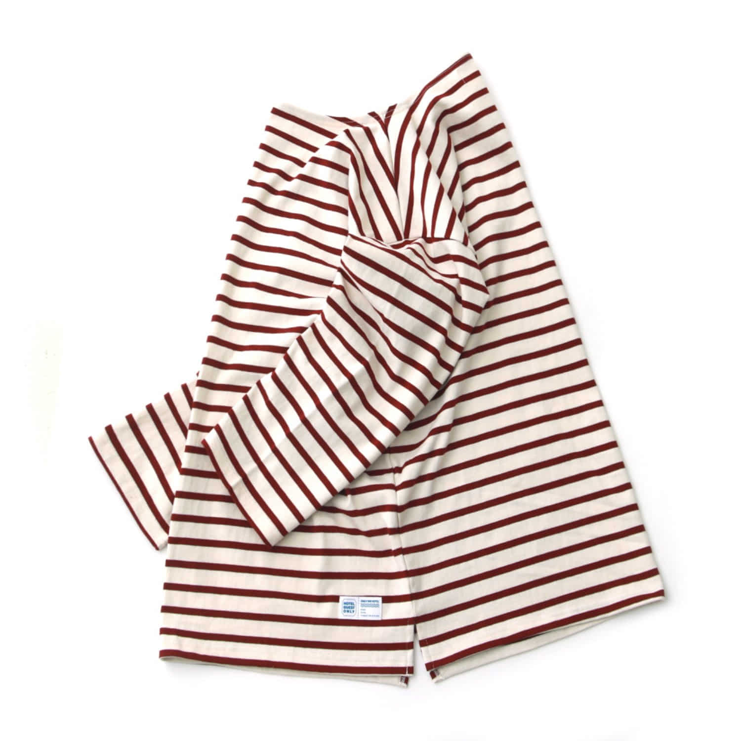 Room Service 34 Sleeve Stripe Oversized Basque Shirts (Cream Burgundy Stripe)