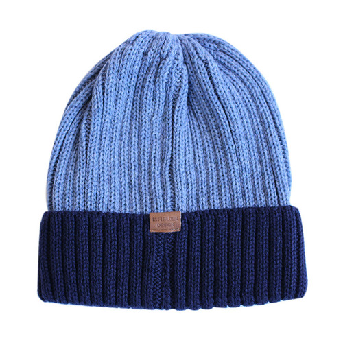 "Infielder Design Washable Knit Cap ""BLUE X NAVY"""