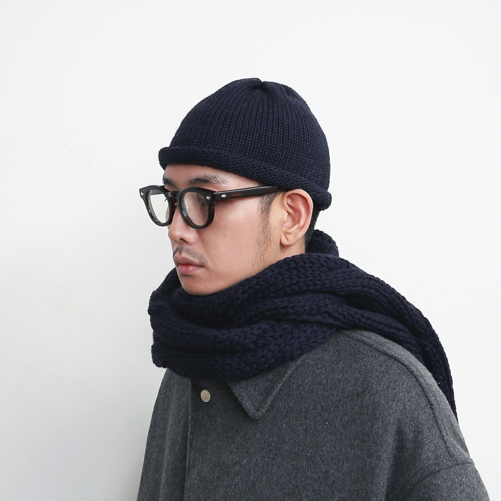 DAILY INN X HIGHLAND 2000 ROLL-UP BEANIE (Navy)