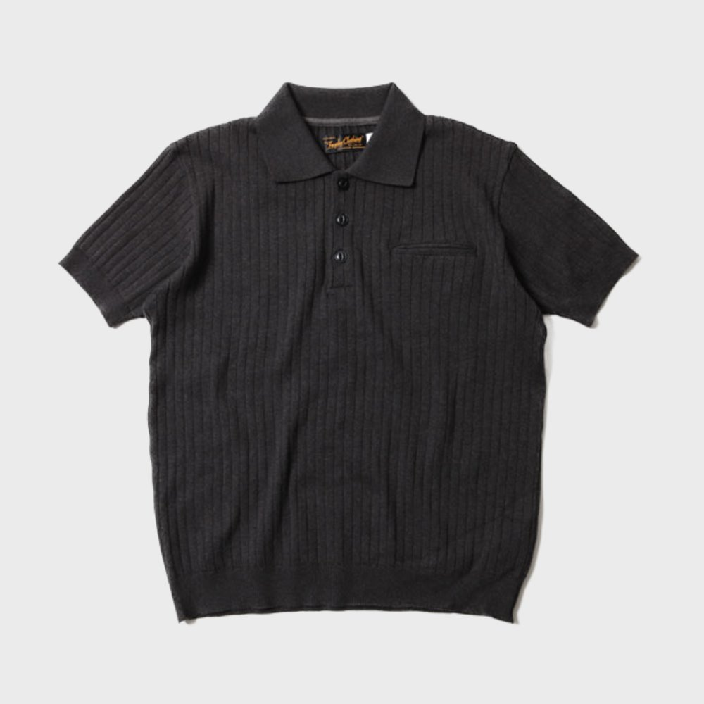 Broad Stitch Knit Polo (Charcoal)