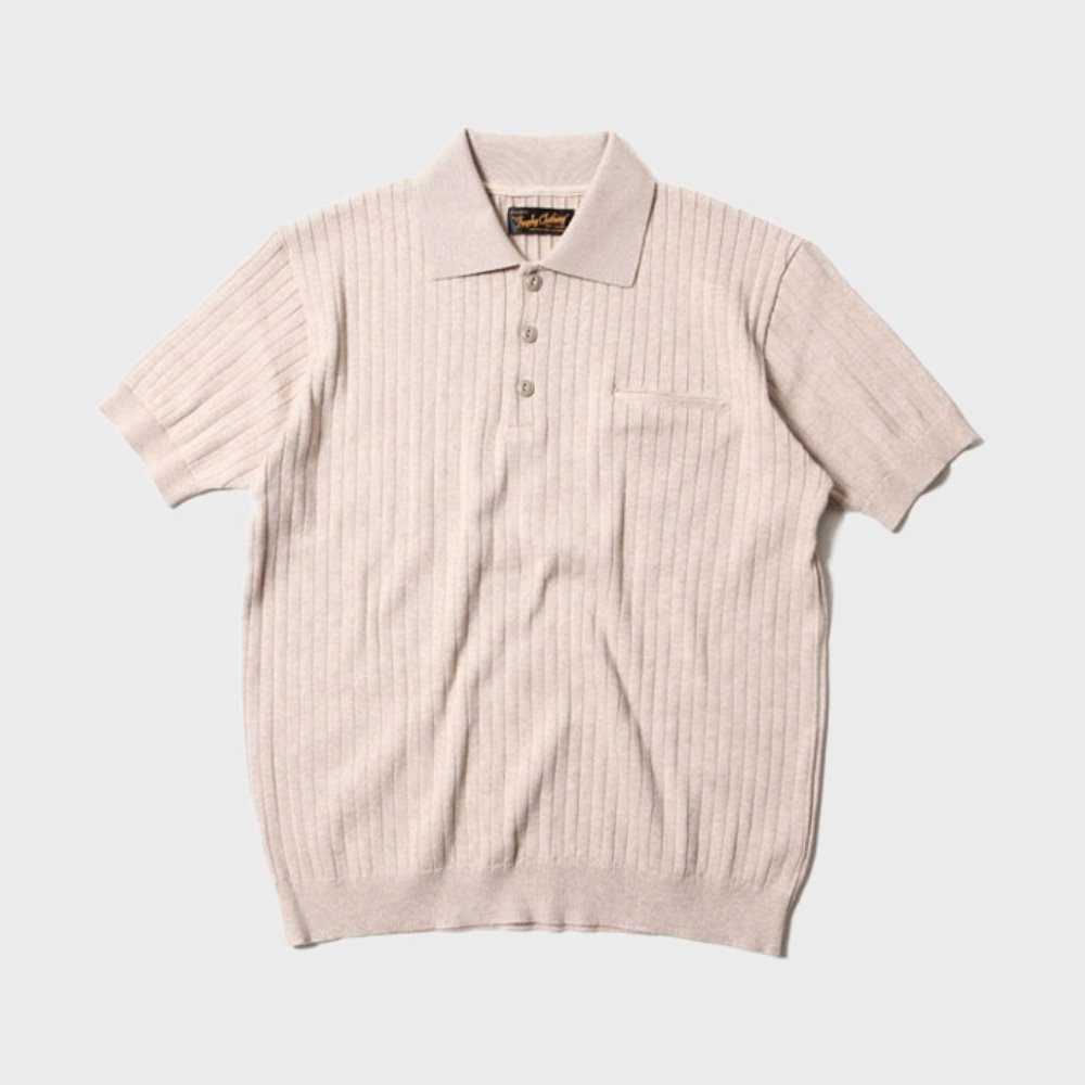 Broad Stitch Knit Polo (Beige)