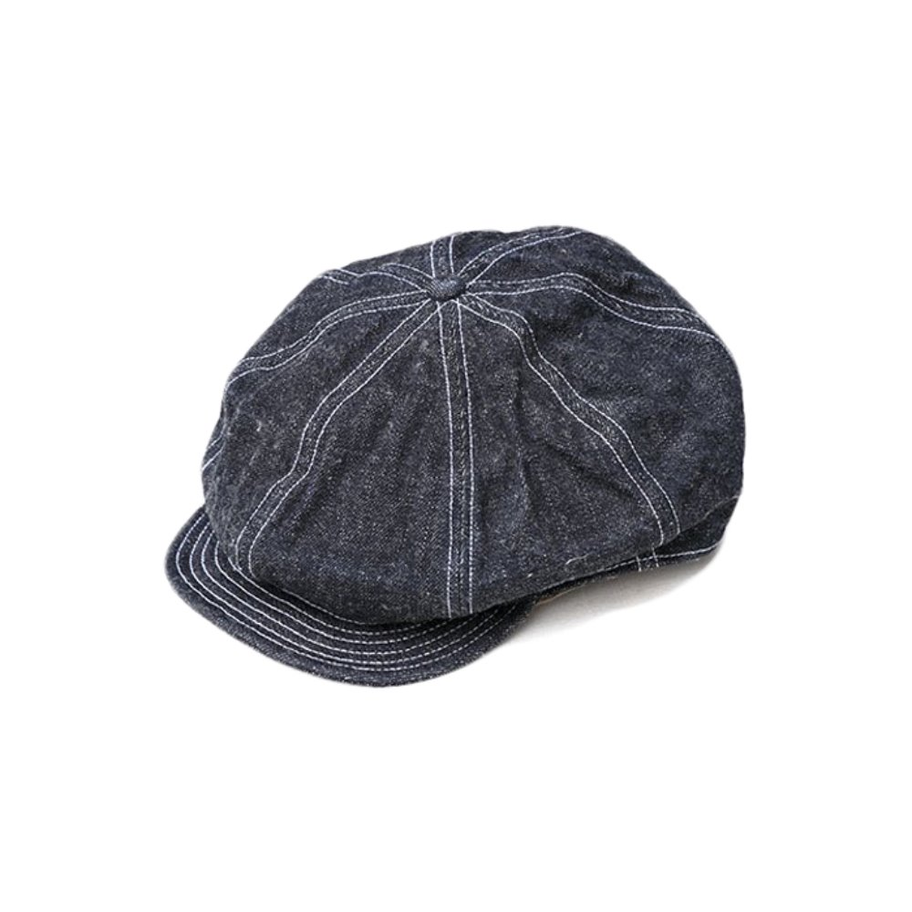 Dirt Denim Newsboy Cap - Indigo x White
